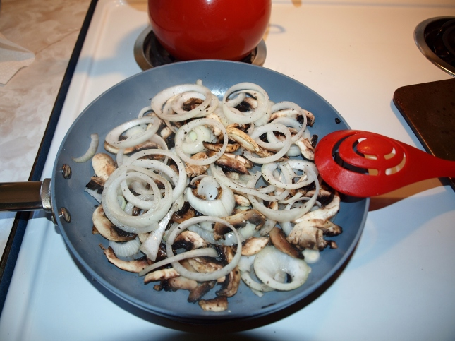 Saute Onions and Mushrooms in Olive Oil