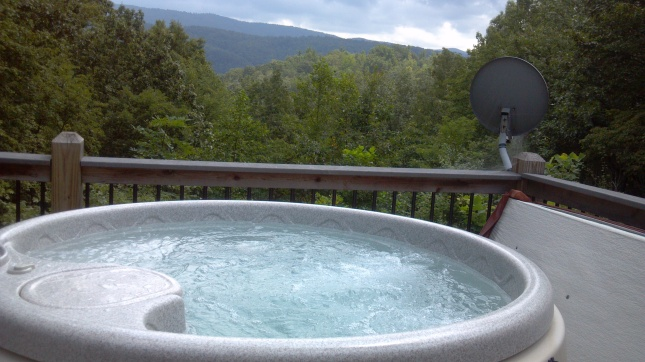 Jacuzzi with Smoky Mountain view!
